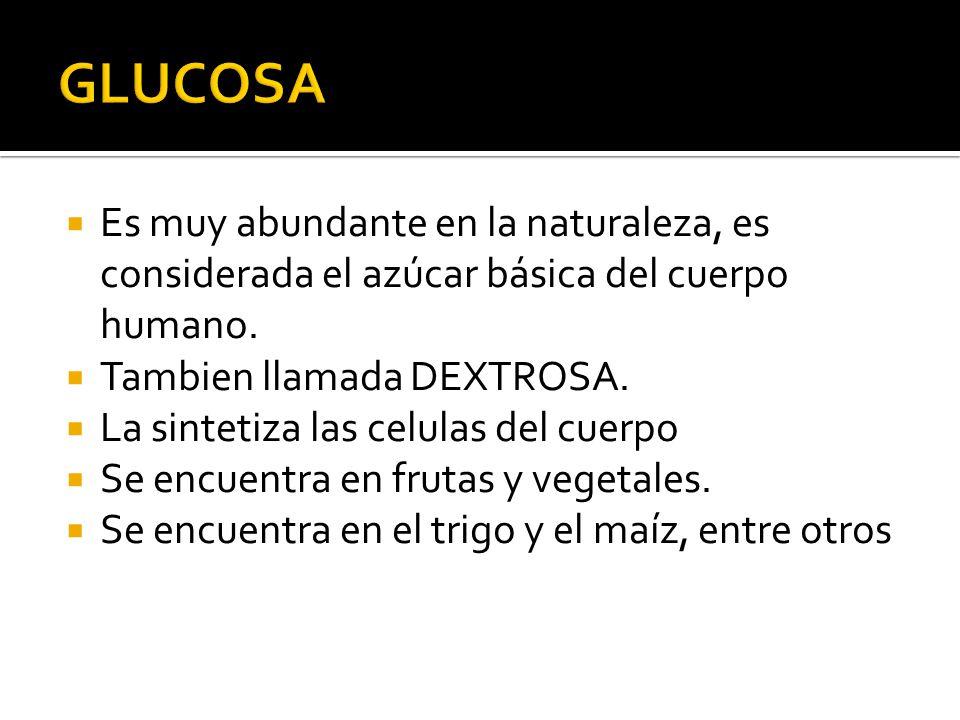 Es muy abundante en la naturaleza, es considerada el azúcar básica del cuerpo humano. Tambien llamada DEXTROSA. La sintetiza las celulas del cuerpo Se
