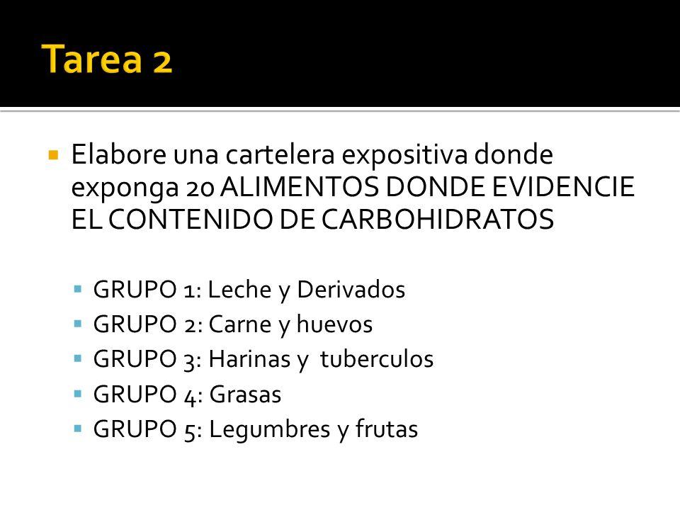 Elabore una cartelera expositiva donde exponga 20 ALIMENTOS DONDE EVIDENCIE EL CONTENIDO DE CARBOHIDRATOS GRUPO 1: Leche y Derivados GRUPO 2: Carne y