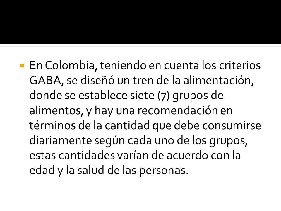 En Colombia, teniendo en cuenta los criterios GABA, se diseñó un tren de la alimentación, donde se establece siete (7) grupos de alimentos, y hay una