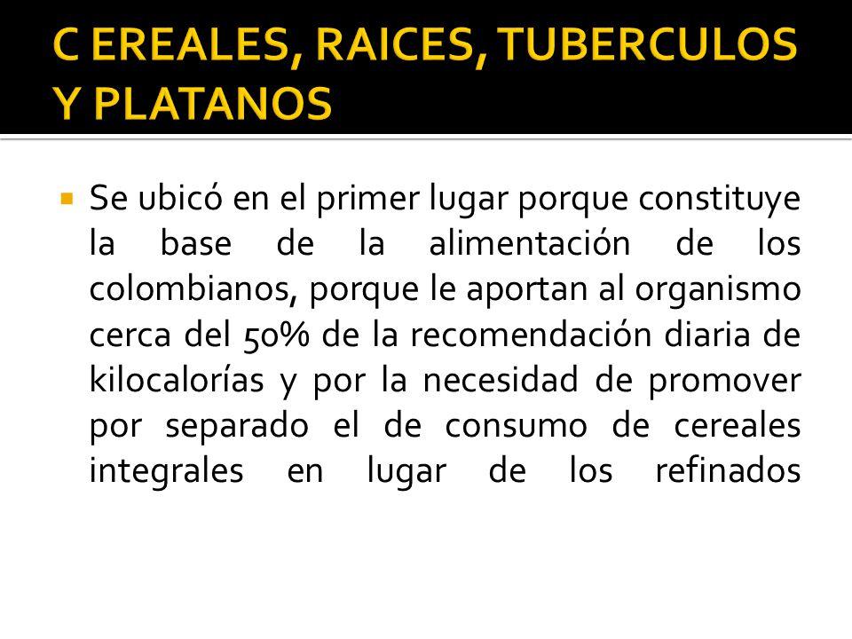 Se ubicó en el primer lugar porque constituye la base de la alimentación de los colombianos, porque le aportan al organismo cerca del 50% de la recome