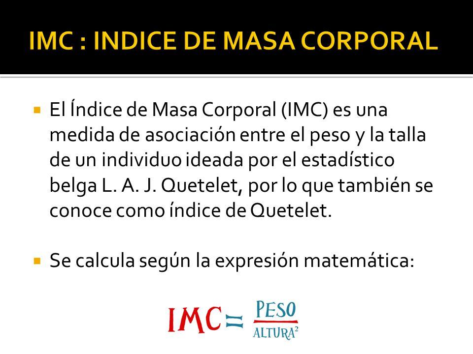El Índice de Masa Corporal (IMC) es una medida de asociación entre el peso y la talla de un individuo ideada por el estadístico belga L. A. J. Quetele