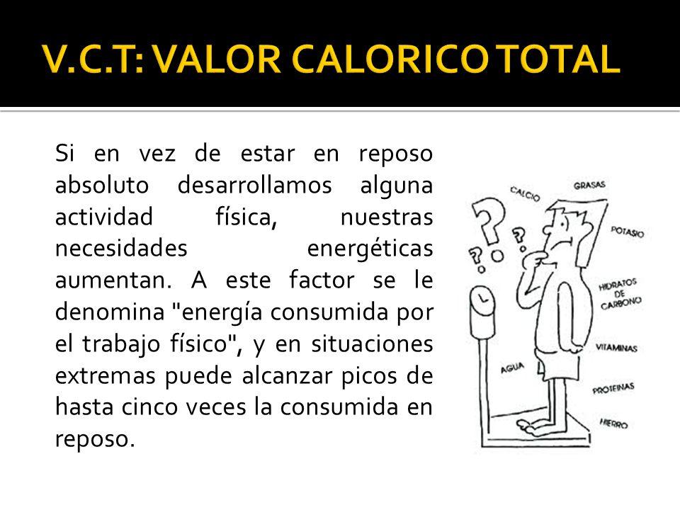 Si en vez de estar en reposo absoluto desarrollamos alguna actividad física, nuestras necesidades energéticas aumentan. A este factor se le denomina