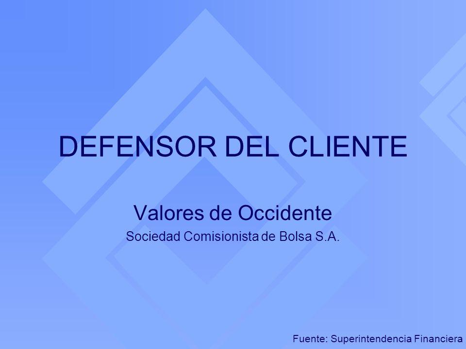 DEFENSOR DEL CLIENTE Valores de Occidente Sociedad Comisionista de Bolsa S.A. Fuente: Superintendencia Financiera