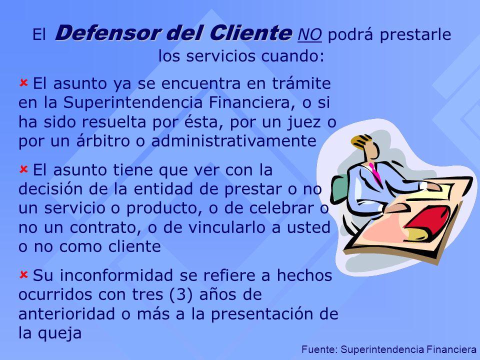 Fuente: Superintendencia Financiera Defensor del Cliente El Defensor del Cliente NO podrá prestarle los servicios cuando: El asunto ya se encuentra en