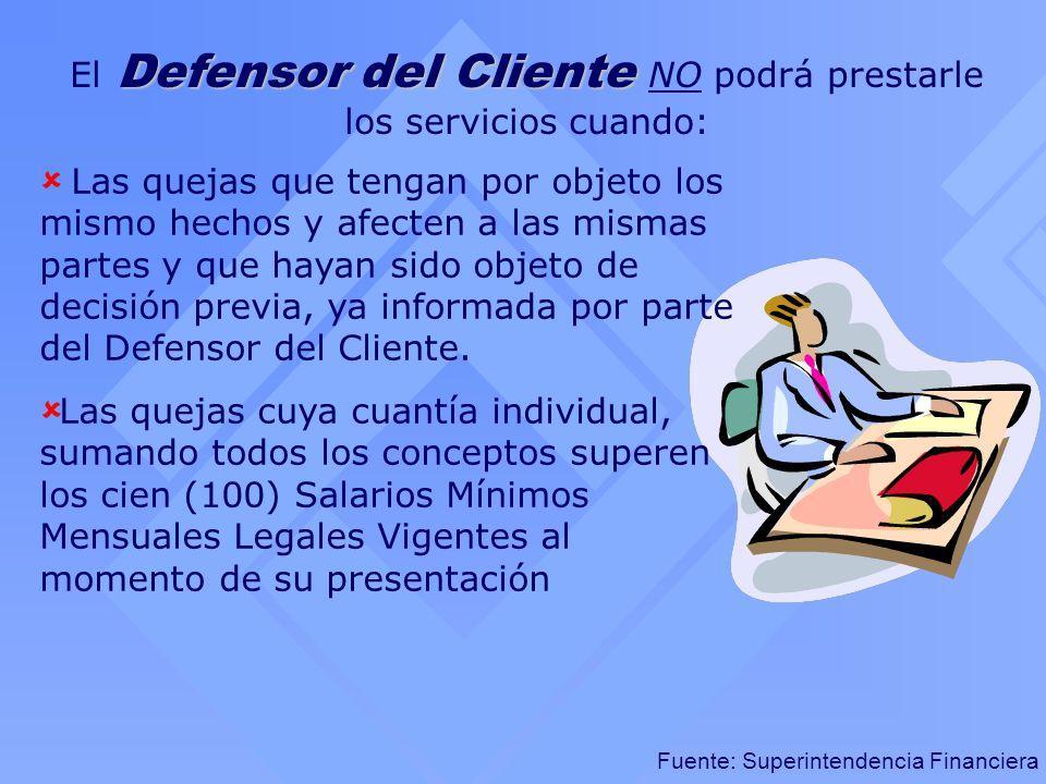 Fuente: Superintendencia Financiera Defensor del Cliente El Defensor del Cliente NO podrá prestarle los servicios cuando: Las quejas que tengan por ob