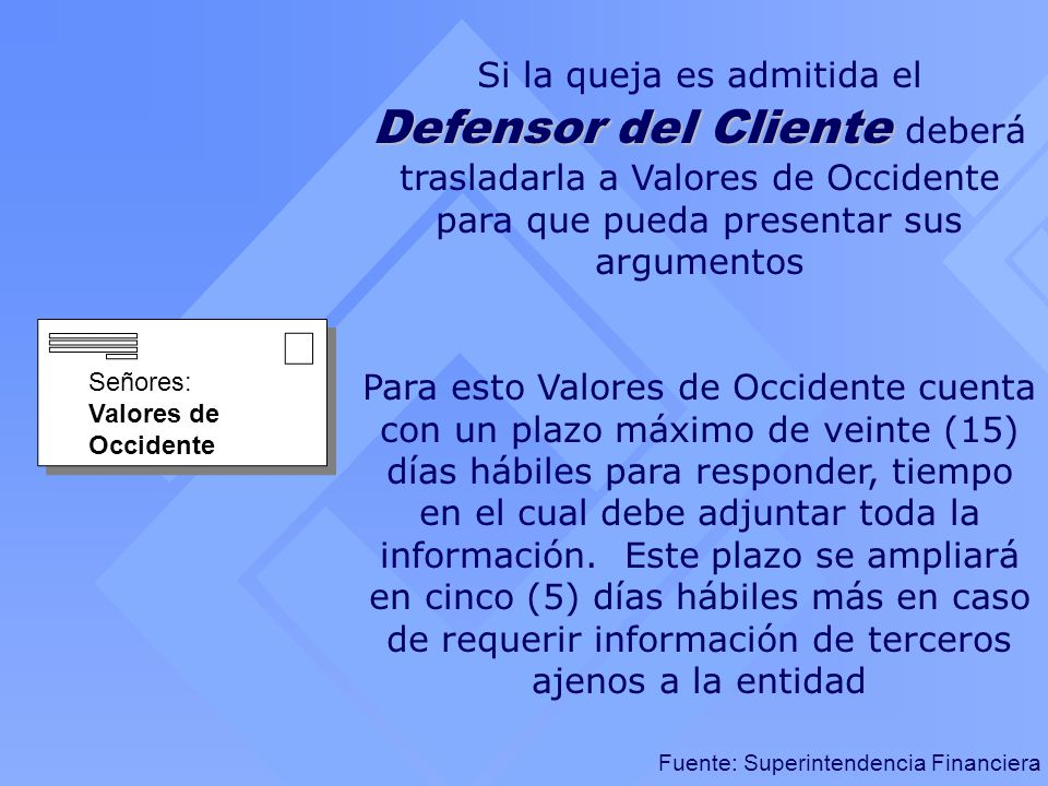 Fuente: Superintendencia Financiera Defensor del Cliente Si la queja es admitida el Defensor del Cliente deberá trasladarla a Valores de Occidente par