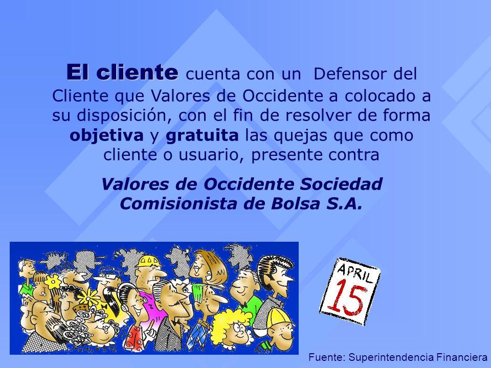 El cliente El cliente cuenta con un Defensor del Cliente que Valores de Occidente a colocado a su disposición, con el fin de resolver de forma objetiv