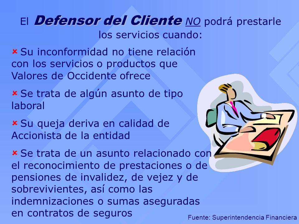 Fuente: Superintendencia Financiera Defensor del Cliente El Defensor del Cliente NO podrá prestarle los servicios cuando: Su inconformidad no tiene re