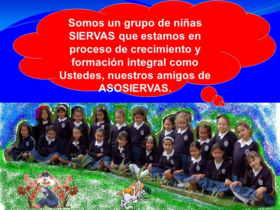 Somos un grupo de niñas SIERVAS que estamos en proceso de crecimiento y formación integral como Ustedes, nuestros amigos de ASOSIERVAS.