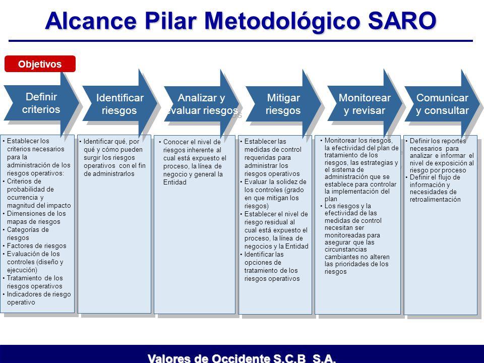 Alcance Pilar Metodológico SARO Definir los reportes necesarios para analizar e informar el nivel de exposición al riesgo por proceso Definir el flujo