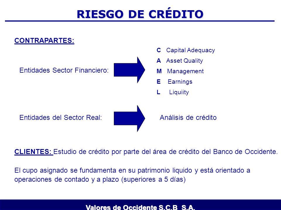 RIESGO DE CRÉDITO CONTRAPARTES: Entidades Sector Financiero: Entidades del Sector Real: Análisis de crédito C Capital Adequacy A Asset Quality M Manag