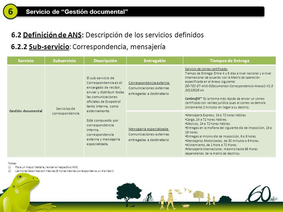 6.2 Definición de ANS: Descripción de los servicios definidos ServicioSubservicioDescripciónEntregableTiempos de Entrega Gestión documental Servicios