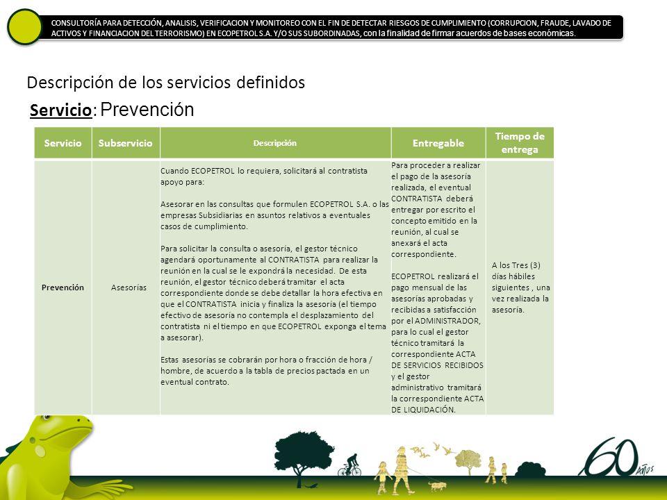 Descripción de los servicios definidos ServicioSubservicio Descripción Entregable Tiempo de entrega PrevenciónAsesorías Cuando ECOPETROL lo requiera,