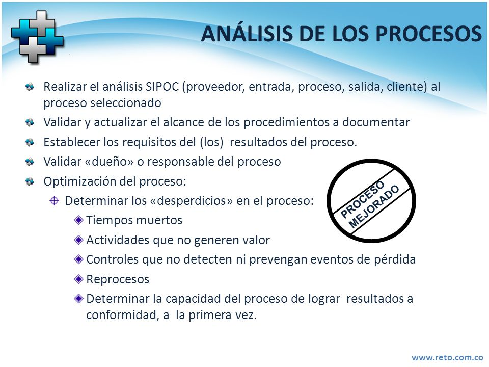 www.reto.com.co ANÁLISIS DE LOS PROCESOS Realizar el análisis SIPOC (proveedor, entrada, proceso, salida, cliente) al proceso seleccionado Validar y a