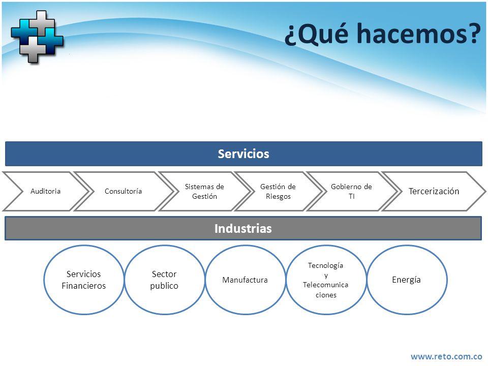 www.reto.com.co ¿Qué hacemos? Servicios Auditoria Sistemas de Gestión Gestión de Riesgos Consultoría Tercerización Gobierno de TI Industrias Servicios