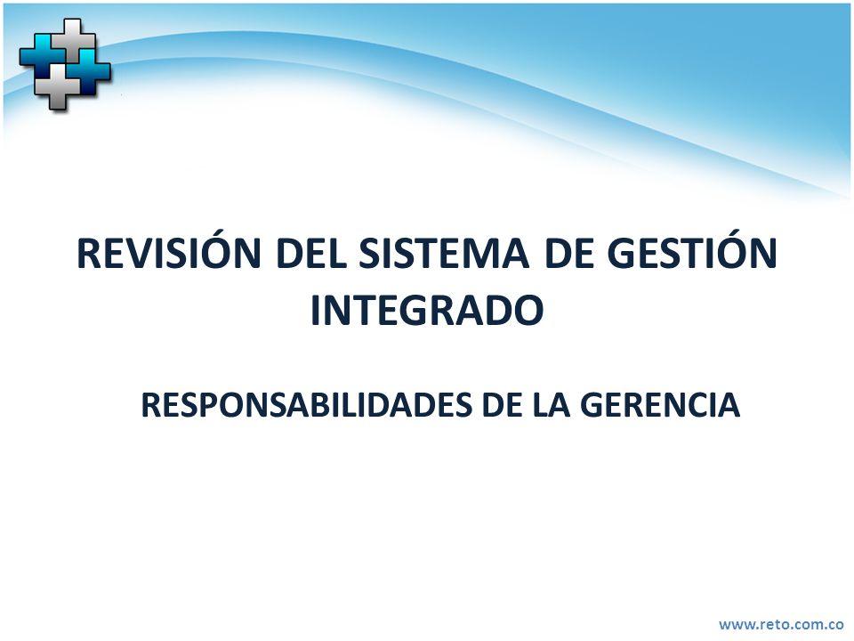 www.reto.com.co REVISIÓN DEL SISTEMA DE GESTIÓN INTEGRADO RESPONSABILIDADES DE LA GERENCIA
