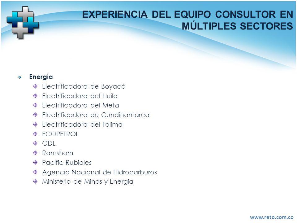 www.reto.com.co EXPERIENCIA DEL EQUIPO CONSULTOR EN MÚLTIPLES SECTORES Energía Electrificadora de Boyacá Electrificadora del Huila Electrificadora del