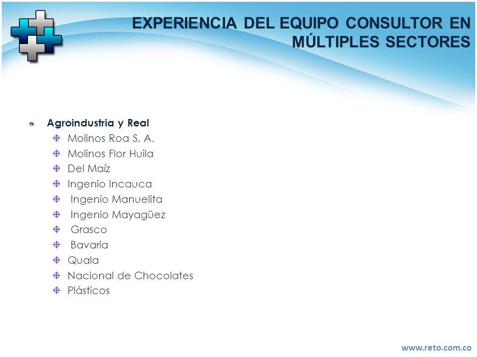 www.reto.com.co EXPERIENCIA DEL EQUIPO CONSULTOR EN MÚLTIPLES SECTORES Agroindustria y Real Molinos Roa S. A. Molinos Flor Huila Del Maíz Ingenio Inca
