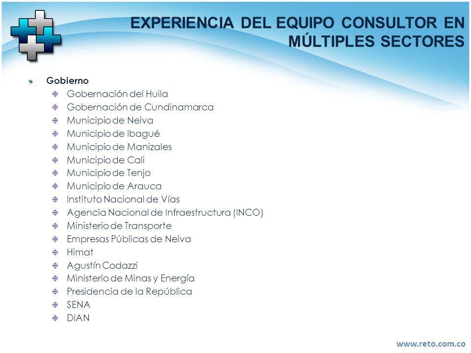 www.reto.com.co EXPERIENCIA DEL EQUIPO CONSULTOR EN MÚLTIPLES SECTORES Gobierno Gobernación del Huila Gobernación de Cundinamarca Municipio de Neiva M