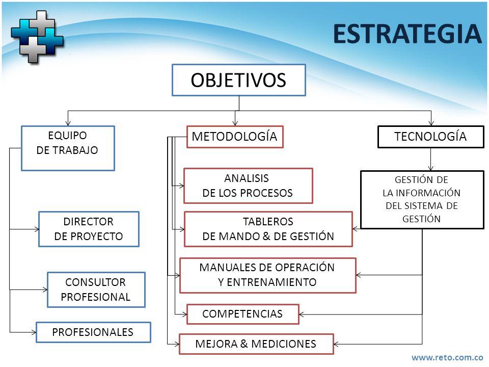 www.reto.com.co ESTRATEGIA OBJETIVOS DIRECTOR DE PROYECTO CONSULTOR PROFESIONAL METODOLOGÍA EQUIPO DE TRABAJO TECNOLOGÍA ANALISIS DE LOS PROCESOS TABL