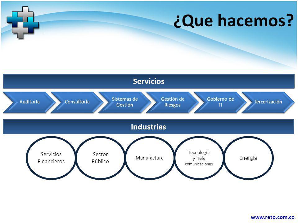 www.reto.com.co Consultoría Gestión en Continuidad del Negocio (BS 25999 BCM) Gestión de la seguridad de la información (ISO 27001) Gestión de Riesgos (ISO 31000) Gobierno Corporativo Gestión Humana Gestión por Procesos (ISO 9000) Planeamiento Organizacional