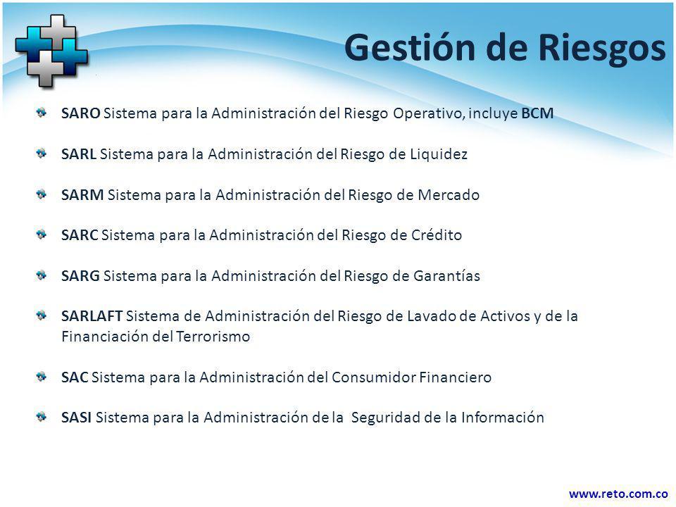 www.reto.com.co Gestión de Riesgos SARO Sistema para la Administración del Riesgo Operativo, incluye BCM SARL Sistema para la Administración del Riesg