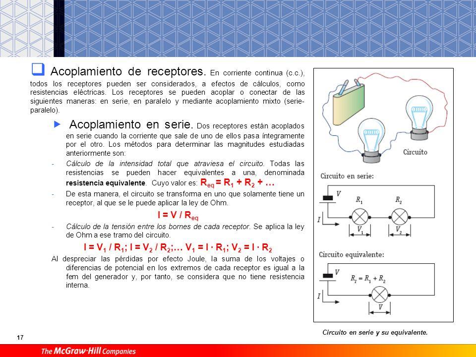 17 Acoplamiento de receptores. En corriente continua (c.c.), todos los receptores pueden ser considerados, a efectos de cálculos, como resistencias el