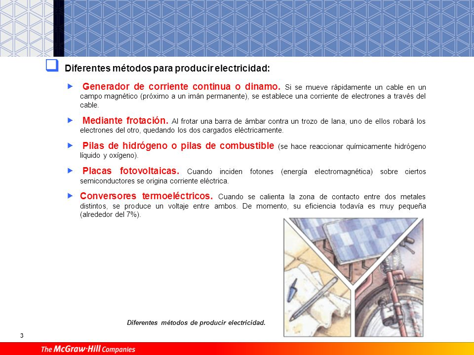 3 Diferentes métodos para producir electricidad: Generador de corriente continua o dinamo. Si se mueve rápidamente un cable en un campo magnético (pró