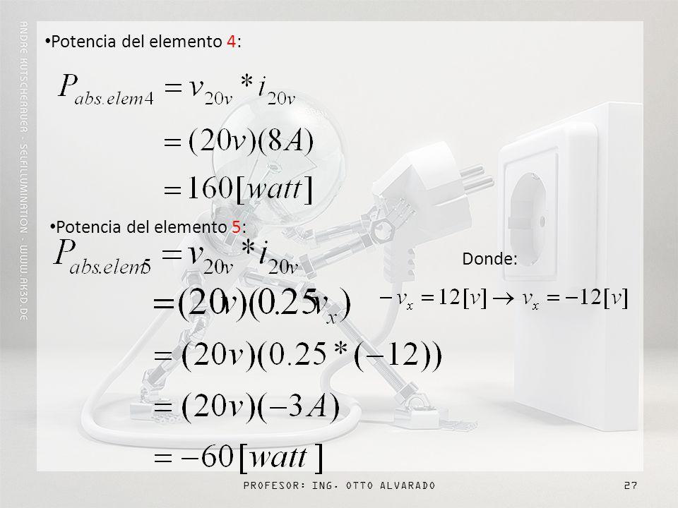 PROFESOR: ING. OTTO ALVARADO27 Potencia del elemento 4: Potencia del elemento 5: Donde: