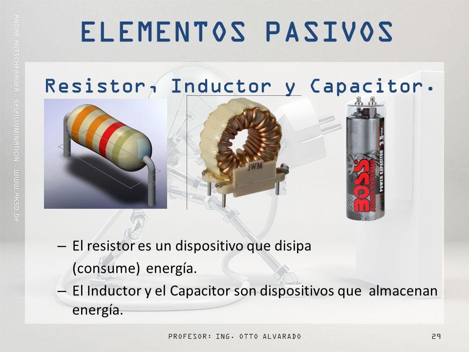 PROFESOR: ING.OTTO ALVARADO29 Resistor, Inductor y Capacitor.