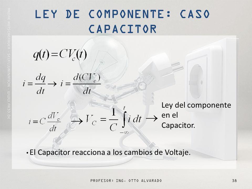 PROFESOR: ING.OTTO ALVARADO38 Ley del componente en el Capacitor.