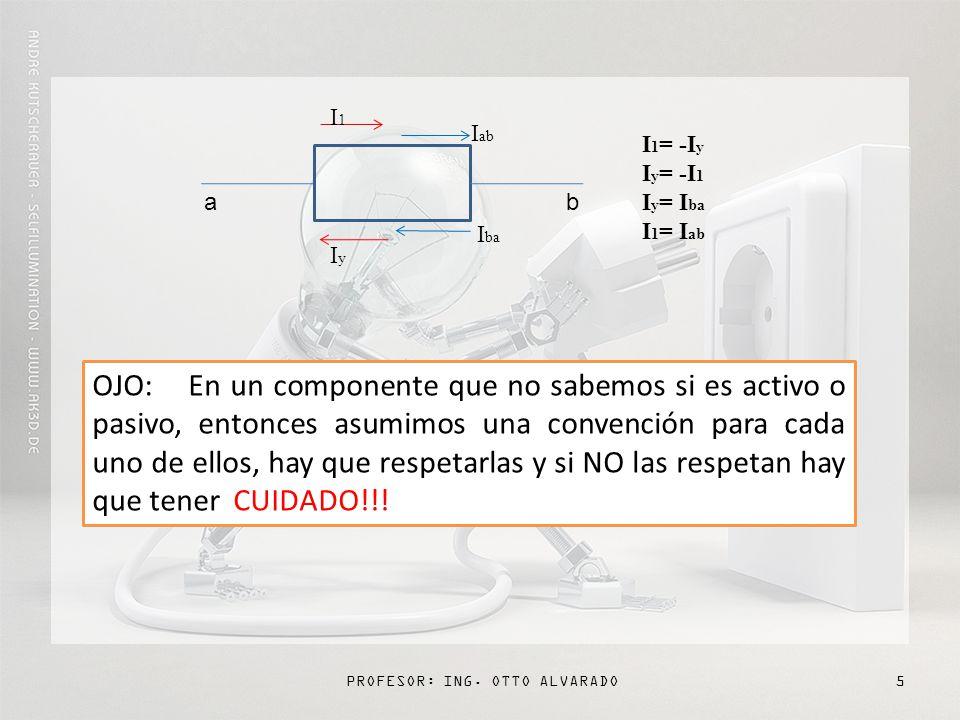 PROFESOR: ING.OTTO ALVARADO6 ò La Corriente entra por el positivo.