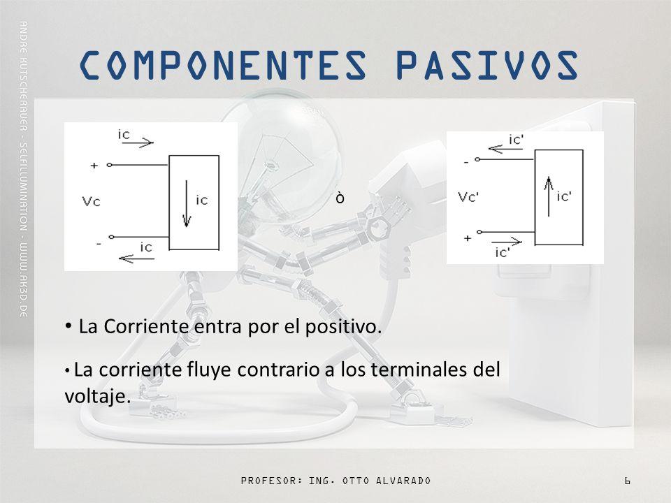 PROFESOR: ING.OTTO ALVARADO7 FOCO La corriente entra por el positivo y sale por el negativo.