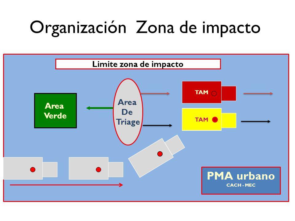 Organización Zona de impacto TAM Limite zona de impacto Area Verde Area De Triage TAM PMA urbano CACH - MEC