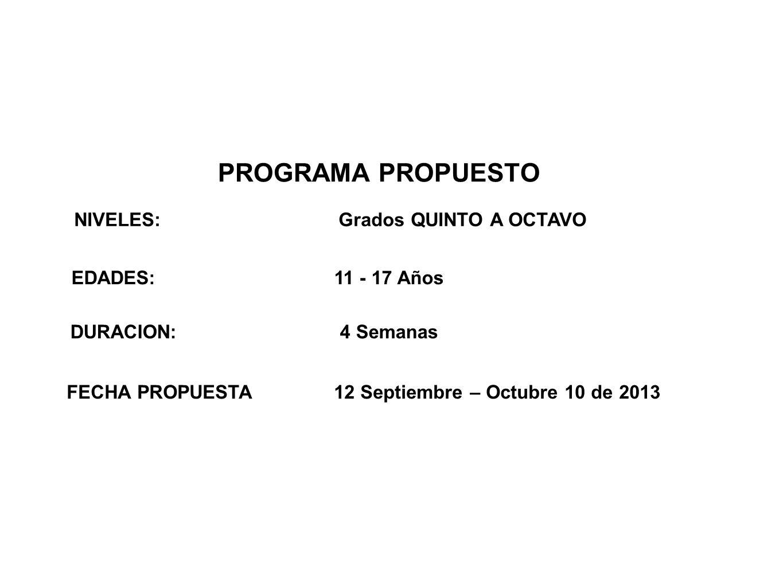 PROGRAMA PROPUESTO NIVELES: Grados QUINTO A OCTAVO EDADES: 11 - 17 Años DURACION: 4 Semanas FECHA PROPUESTA 12 Septiembre – Octubre 10 de 2013