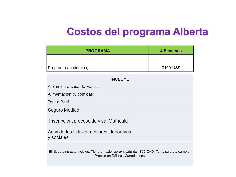 PROGRAMA4 Semanas Programa académico,.3100 US$ INCLUYE Alojamiento casa de Familia Alimentación (3 comidas) Tour a Banf Seguro Medico Inscripción, pro