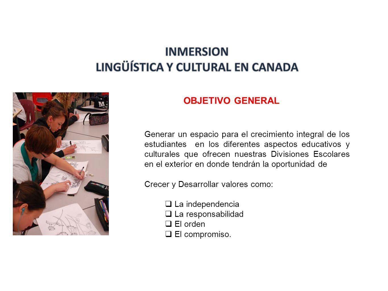 OBJETIVOS ESPECIFICOS Práctica del idioma inglés de los estudiantes en una cultura nativa, teniendo como país de destino Canadá.