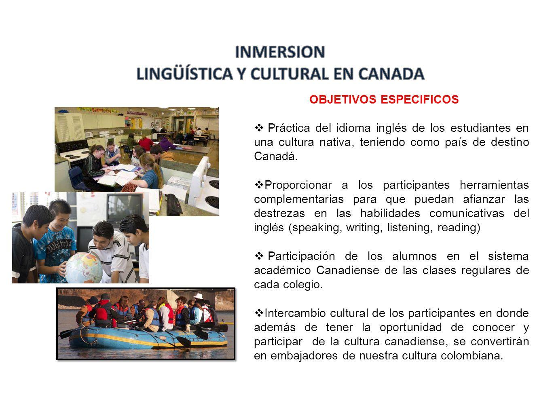 OBJETIVOS ESPECIFICOS Práctica del idioma inglés de los estudiantes en una cultura nativa, teniendo como país de destino Canadá. Proporcionar a los pa