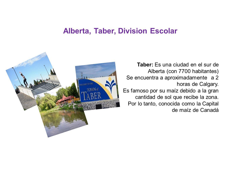 Alberta, Taber, Division Escolar Taber: Es una ciudad en el sur de Alberta (con 7700 habitantes) Se encuentra a aproximadamente a 2 horas de Calgary.