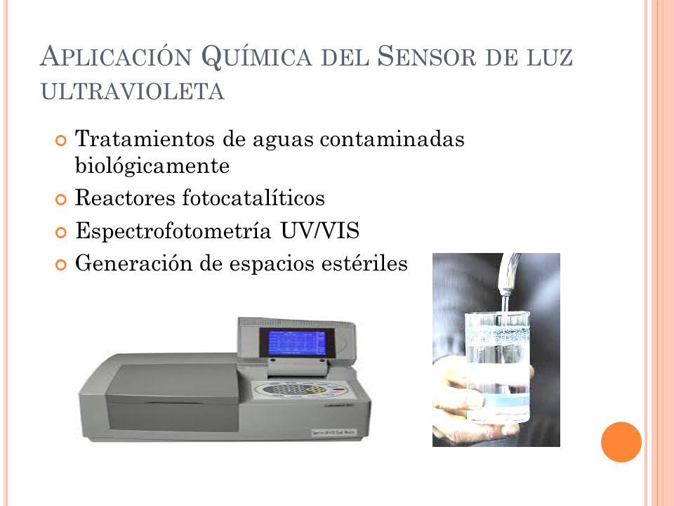 A PLICACIÓN Q UÍMICA DEL S ENSOR DE LUZ ULTRAVIOLETA Tratamientos de aguas contaminadas biológicamente Reactores fotocatalíticos Espectrofotometría UV