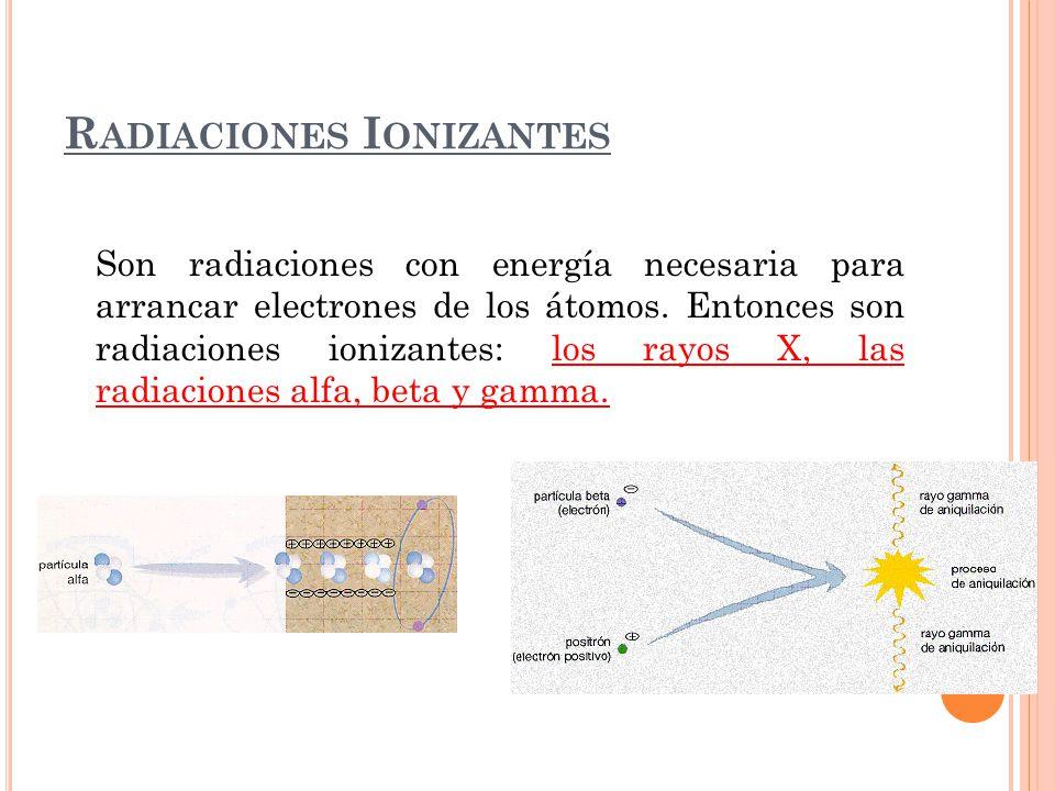 R ADIACIONES I ONIZANTES Son radiaciones con energía necesaria para arrancar electrones de los átomos. Entonces son radiaciones ionizantes: los rayos