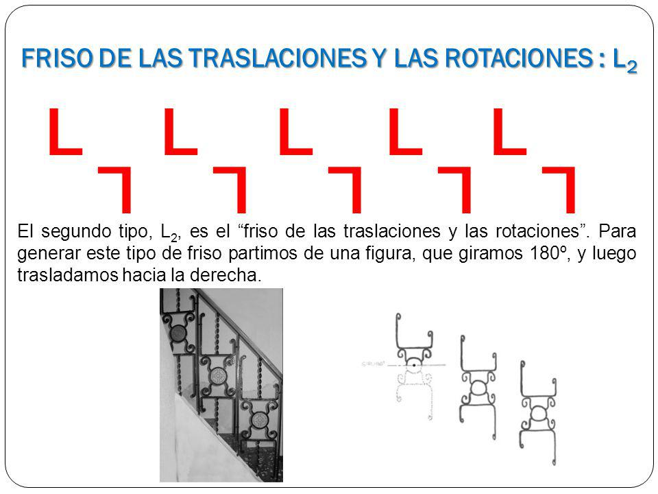 L L L L L L L L L L El segundo tipo, L 2, es el friso de las traslaciones y las rotaciones. Para generar este tipo de friso partimos de una figura, qu