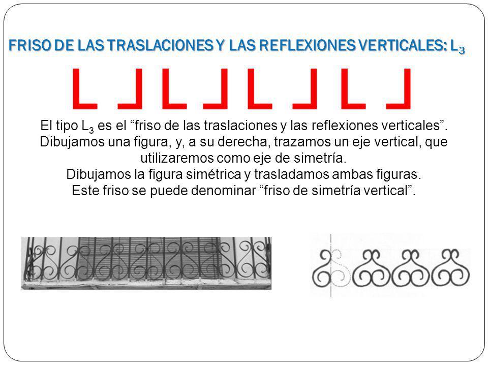 El tipo L 3 es el friso de las traslaciones y las reflexiones verticales. Dibujamos una figura, y, a su derecha, trazamos un eje vertical, que utiliza