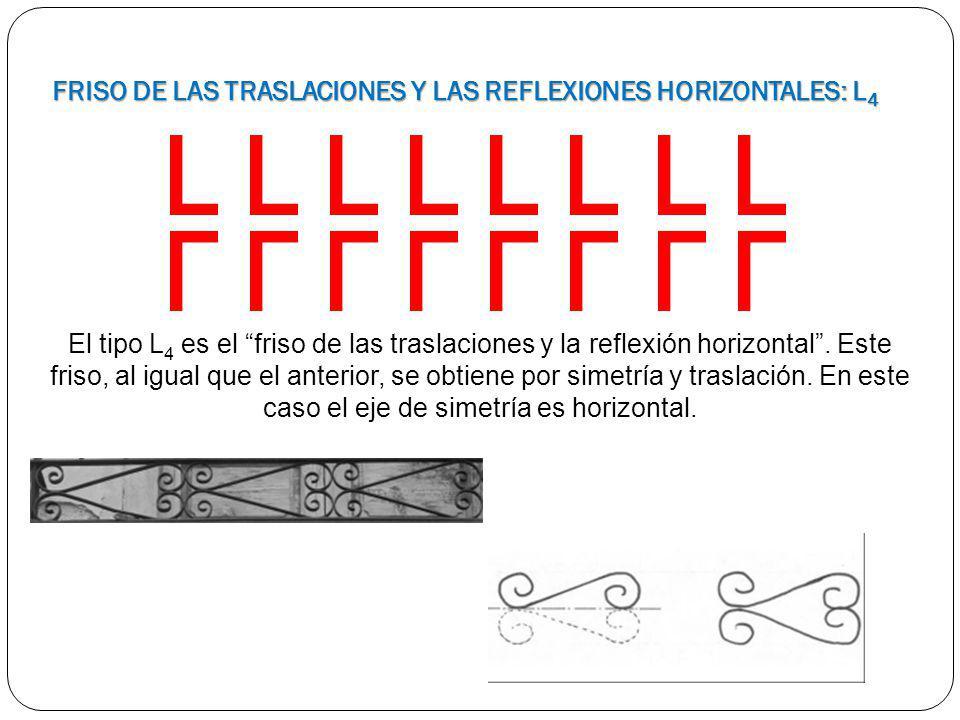 El tipo L 4 es el friso de las traslaciones y la reflexión horizontal. Este friso, al igual que el anterior, se obtiene por simetría y traslación. En