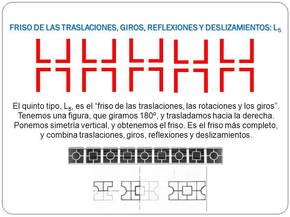 El quinto tipo, L 5, es el friso de las traslaciones, las rotaciones y los giros. Tenemos una figura, que giramos 180º, y trasladamos hacia la derecha