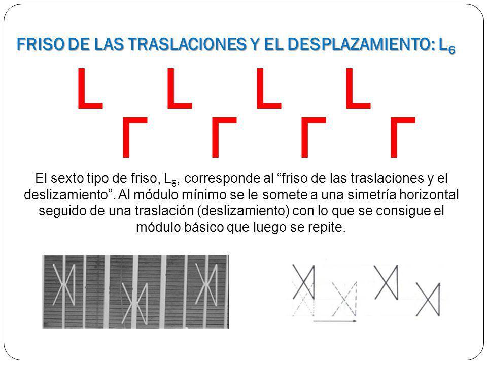 El sexto tipo de friso, L 6, corresponde al friso de las traslaciones y el deslizamiento. Al módulo mínimo se le somete a una simetría horizontal segu