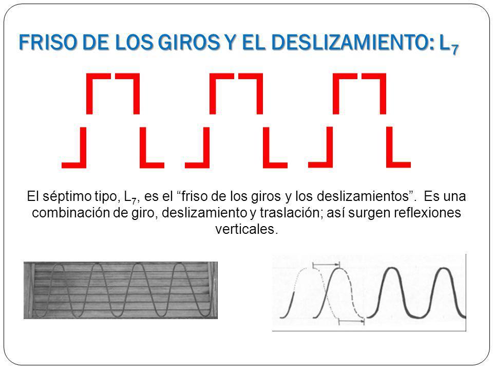 El séptimo tipo, L 7, es el friso de los giros y los deslizamientos. Es una combinación de giro, deslizamiento y traslación; así surgen reflexiones ve