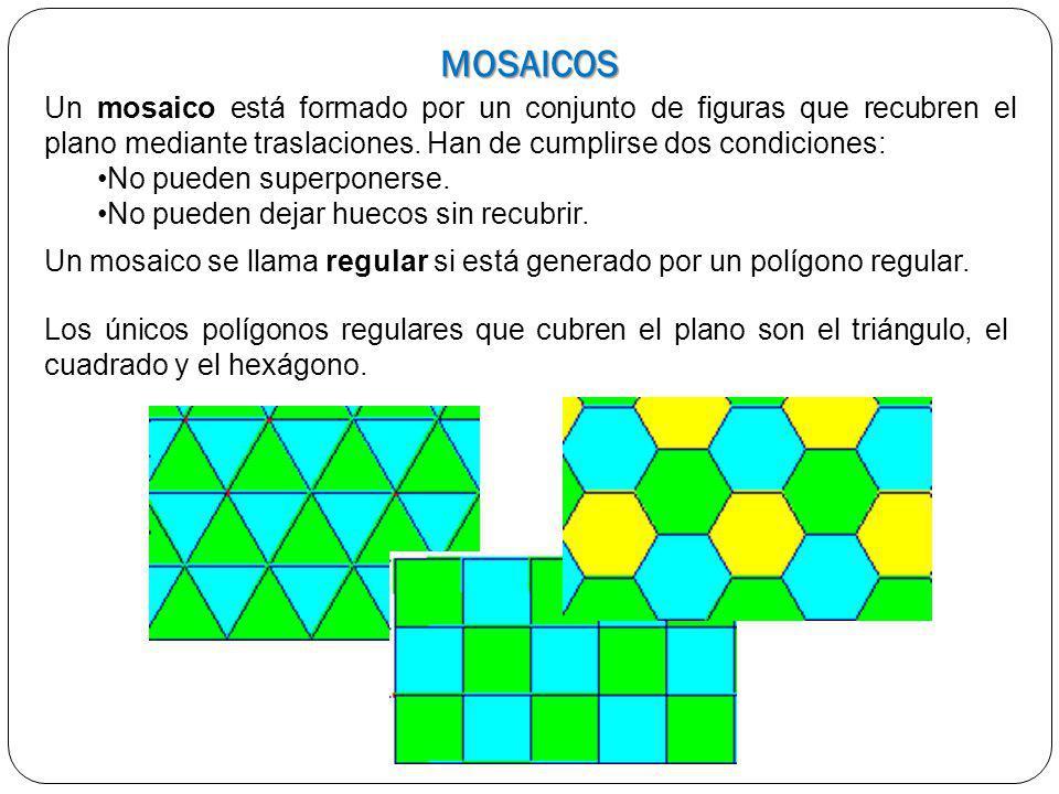 MOSAICOS Los únicos polígonos regulares que cubren el plano son el triángulo, el cuadrado y el hexágono. Un mosaico está formado por un conjunto de fi
