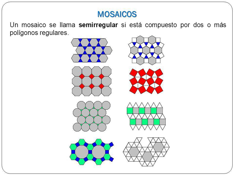MOSAICOS Un mosaico se llama semirregular si está compuesto por dos o más polígonos regulares.