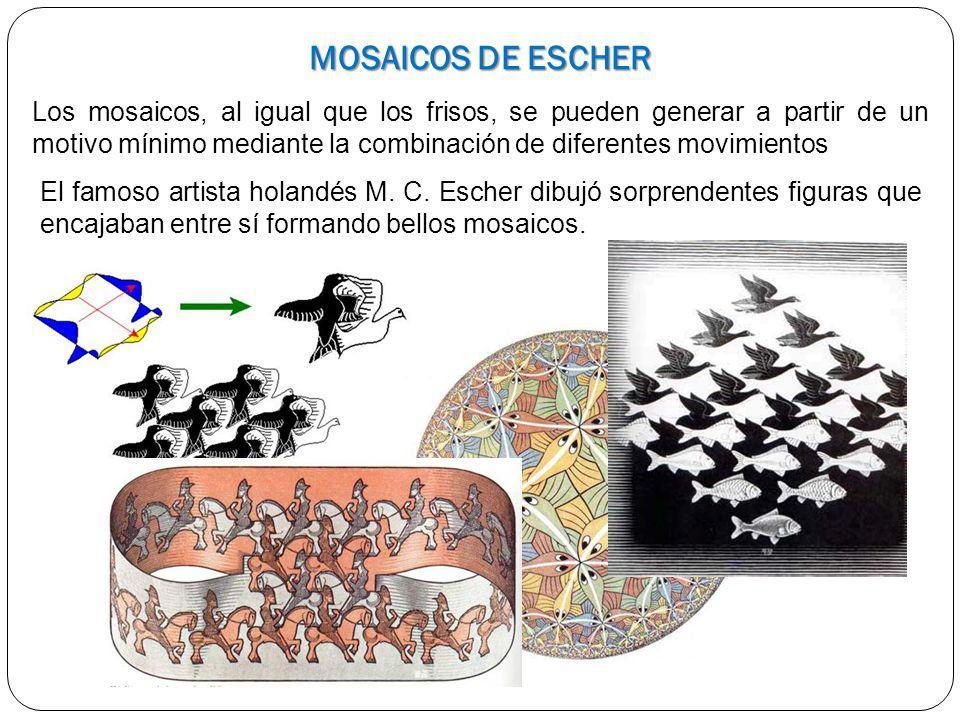 MOSAICOS DE ESCHER Los mosaicos, al igual que los frisos, se pueden generar a partir de un motivo mínimo mediante la combinación de diferentes movimie